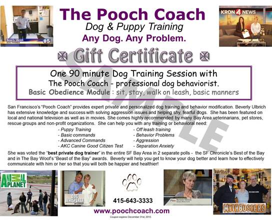 Sample pooch coach dog training gift certificate the pooch coach sample pooch coach dog training gift certificate yadclub Image collections