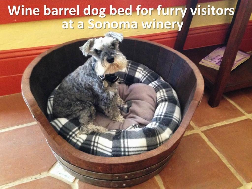 wine barrel dog bed - dog friendly travel