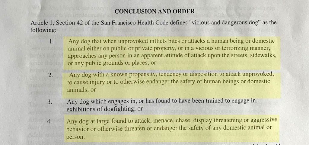 sf vicious and dangerous dog court irresponsible